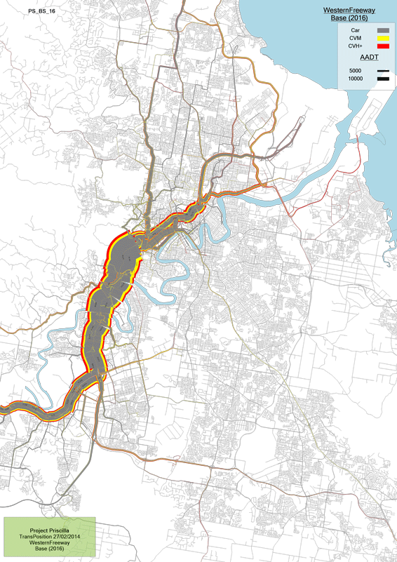 A select link plot in Brisbane - the Western Freeway