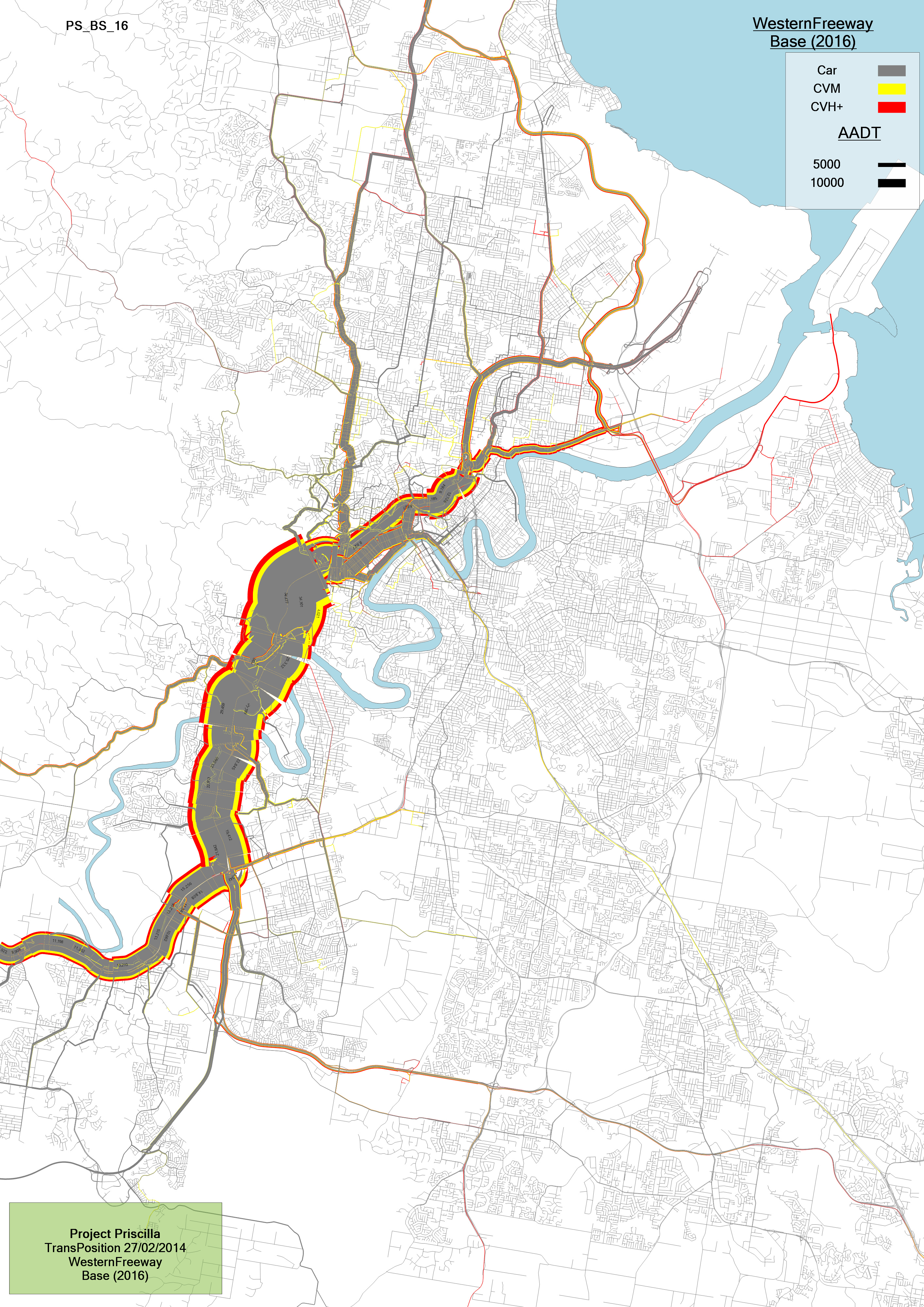 Select link plot showing volumes contributing to Western Freeway in Brisbane